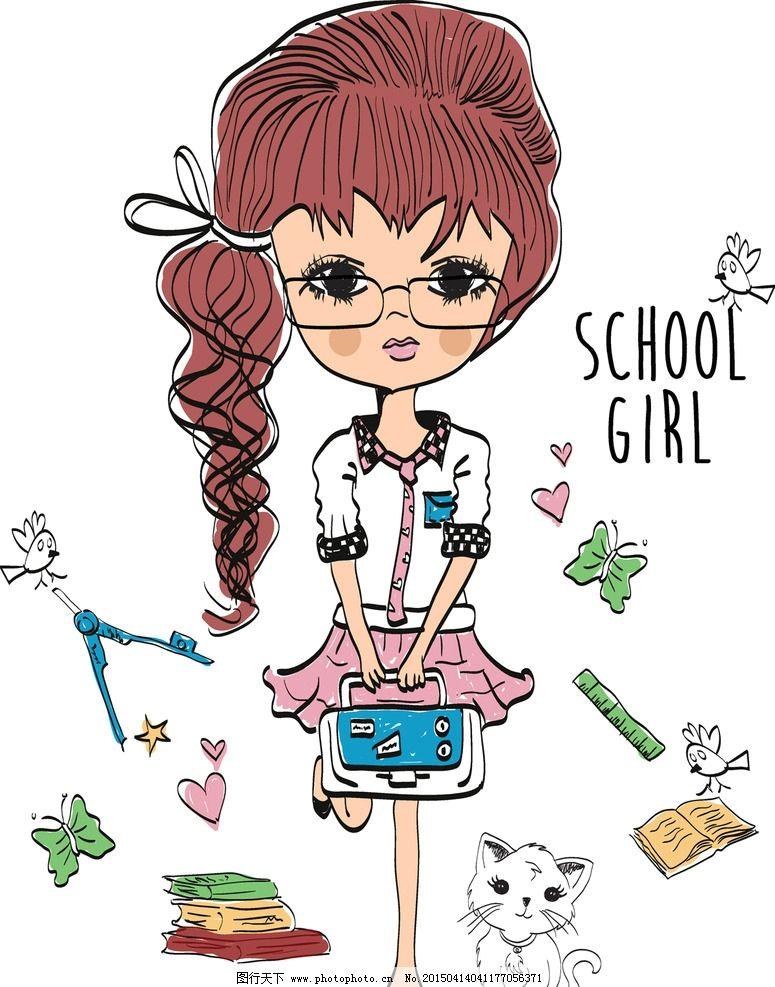 少女 女孩 手绘 动漫人物 插画人物 卡通插图 女性 时尚女性