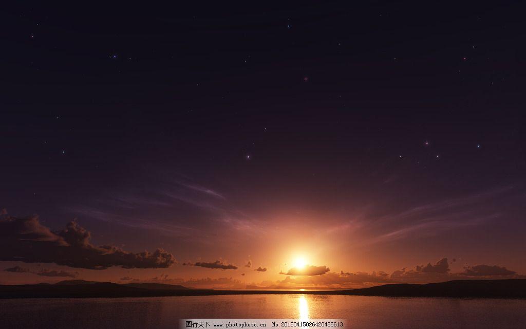 湖边风景 湖边风景免费下载 倒影 平面设计素材 夕阳 夜光 夜景