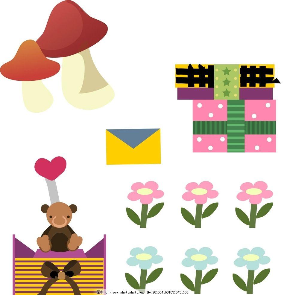 矢量素材 幼儿园 装饰素材 花朵 手绘花朵 手绘蘑菇 卡通蘑菇 礼物