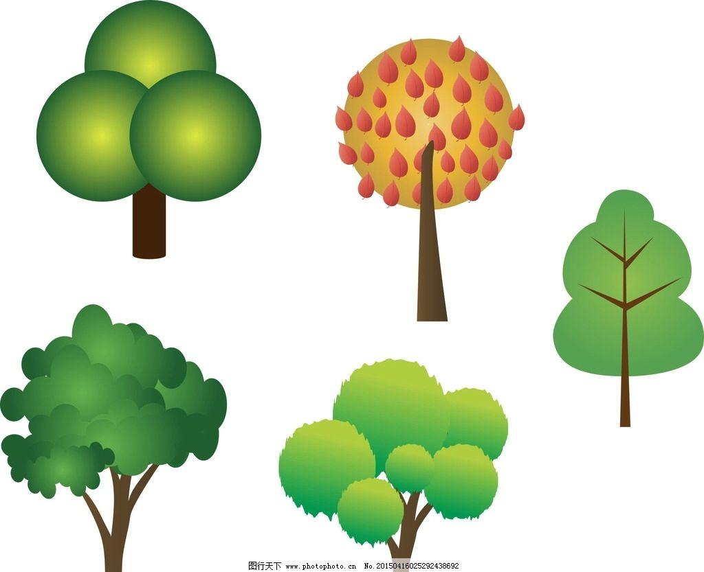 手绘 树木 圆形图片
