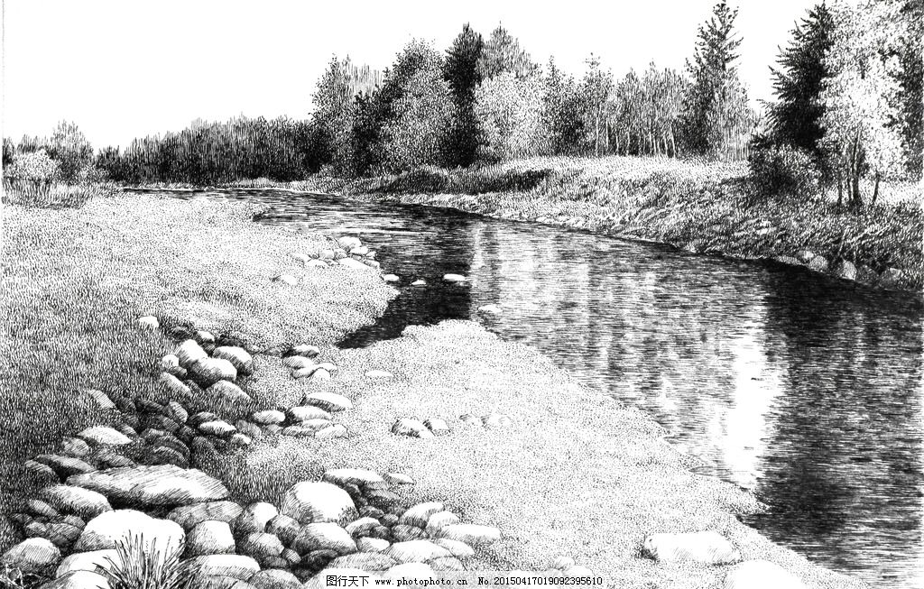 素描 风景 小河 河滩 树丛 树林 设计 文化艺术 绘画书法 180dpi jpg