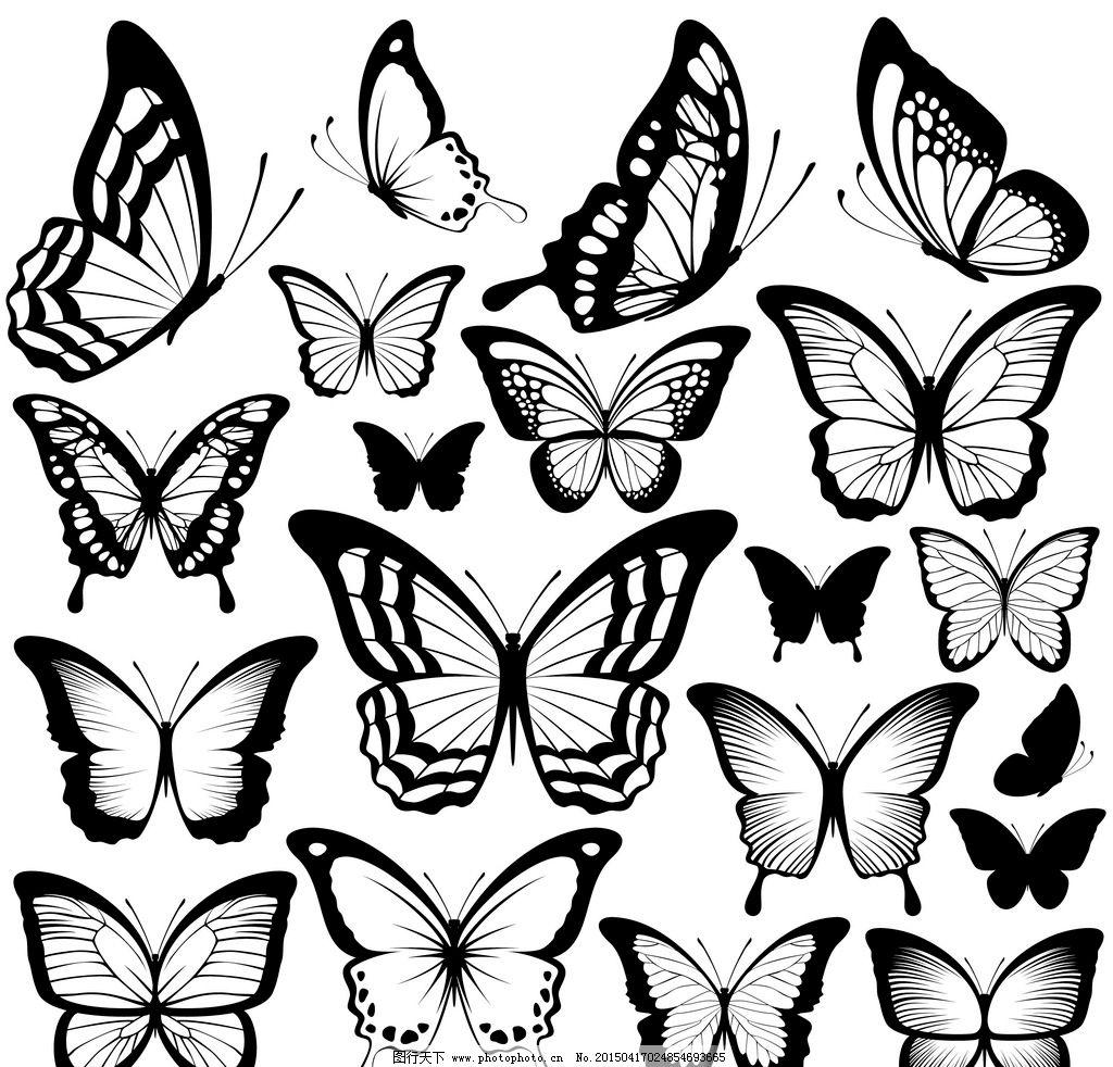 蝴蝶图片,黑色蝴蝶 手绘 翅膀 蝴蝶图案 矢量-图行