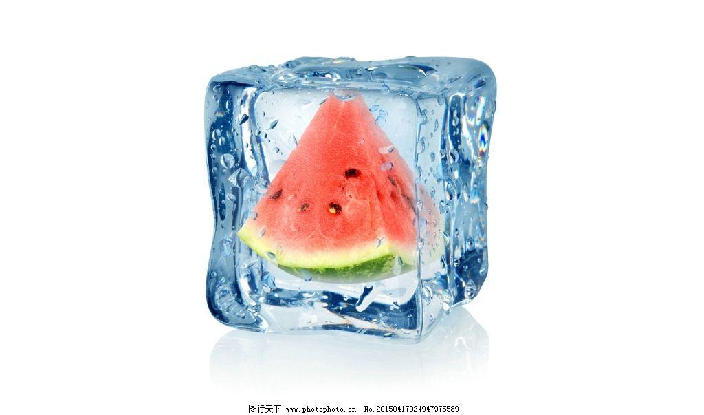 西瓜 水果 果实 冰块 冰冻 设计 生物世界 水果 300dpi jpg