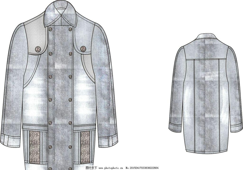 服装款式图 牛仔 男装 水洗布 服装结构图 其他 图片素材