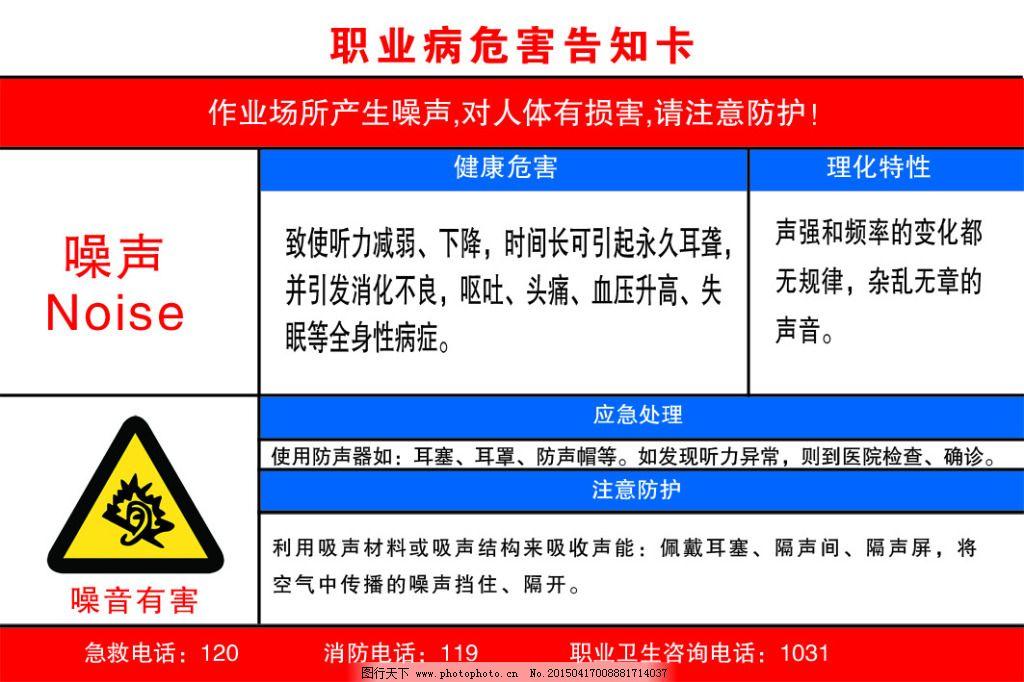职业病危害告知卡免费下载 安全 噪音有害 矿山工程 安全 展板 安全