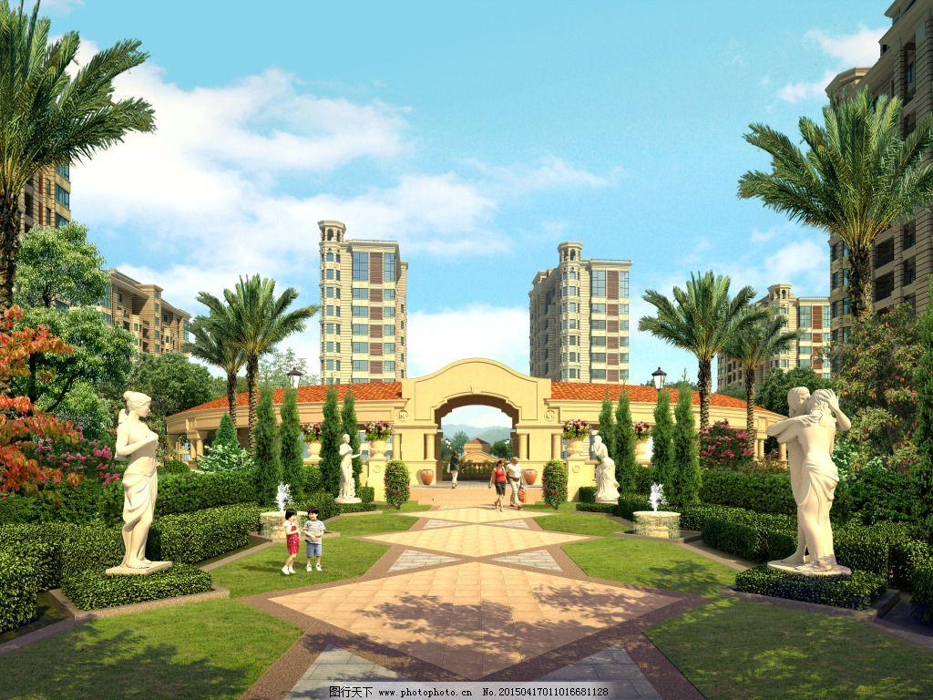 欧式小区大门 欧式小区大门免费下载 环境 建筑 效果图 家居装饰素材