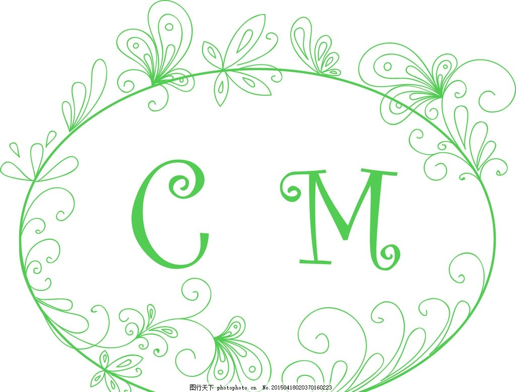 婚礼 婚礼logo 绿色 森系 欧式花纹 设计 底纹边框 花边花纹 cdr
