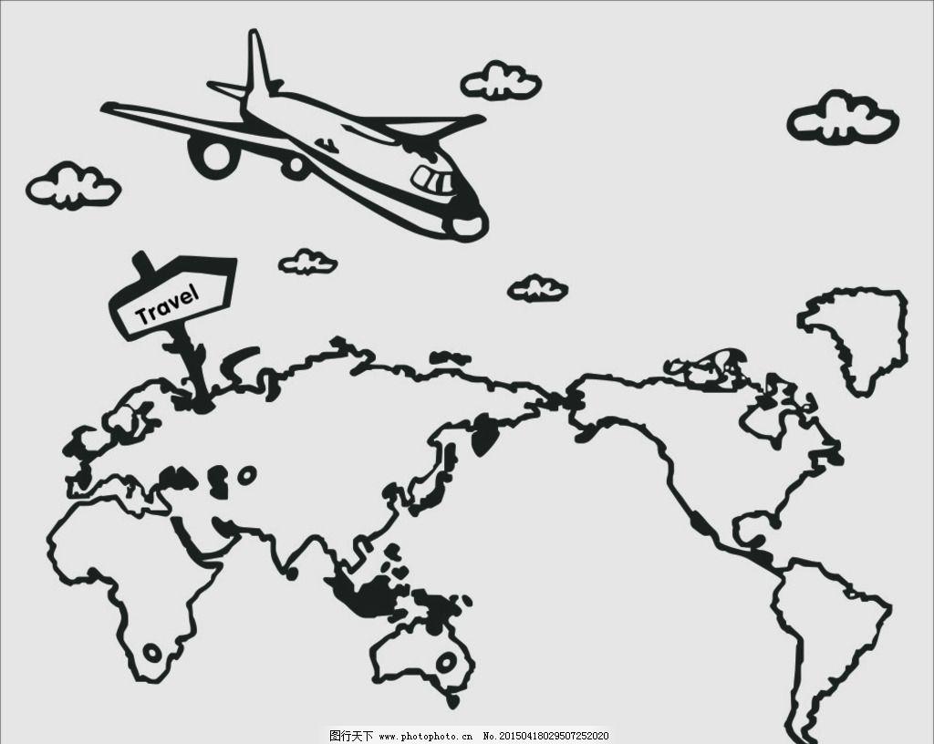 飞机旅行矢量图图片