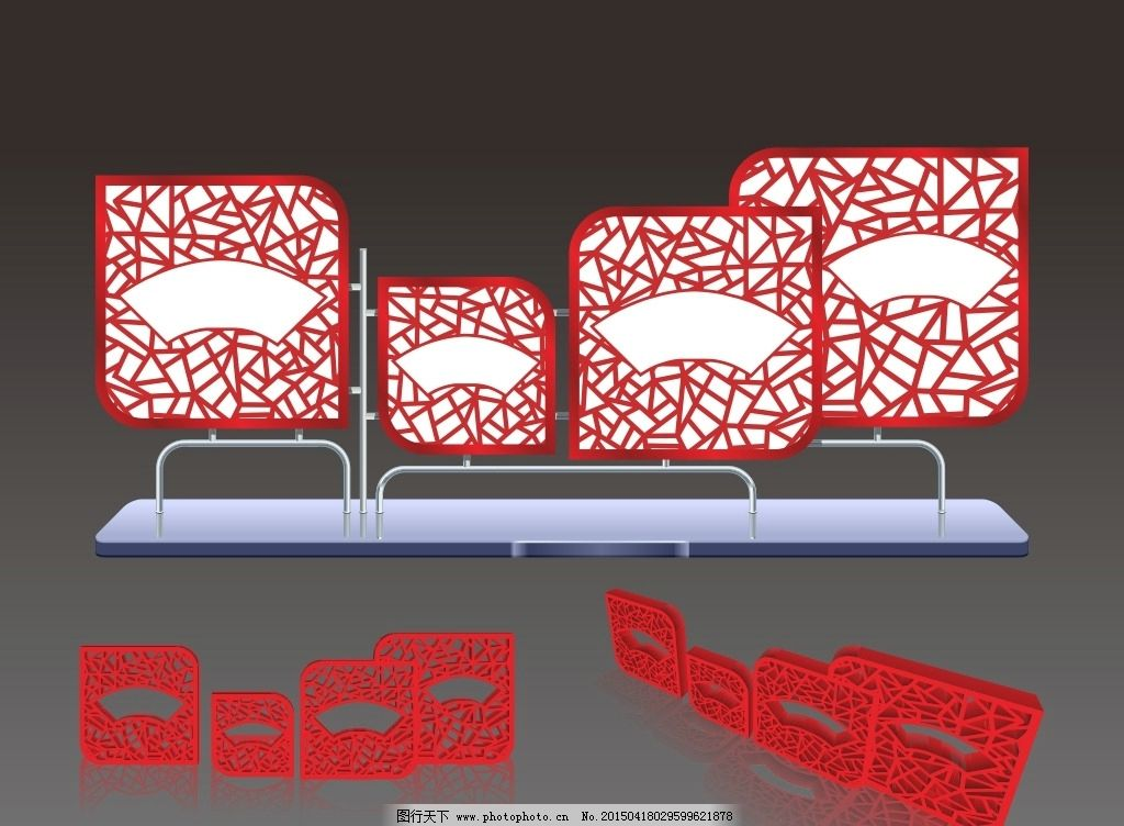 宣传栏 创意 异形 中国风 窗格 窗花 立体 户外 文化墙 文化 走廊