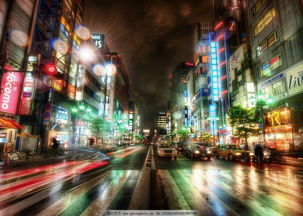 东京 银座 夜晚 街景图片