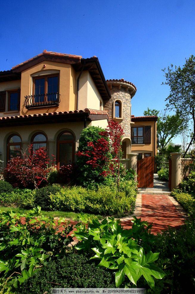 别墅 景观 园林 花草 蓝天 西班牙 欧式建筑 摄影 建筑园林 园林建筑