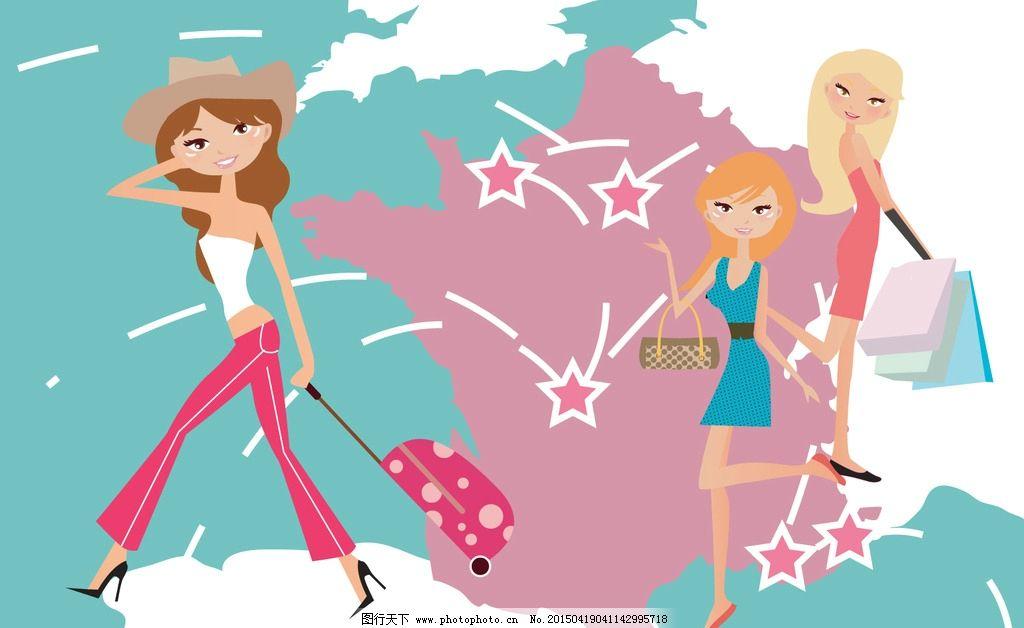 购物美女 手绘少女 女孩