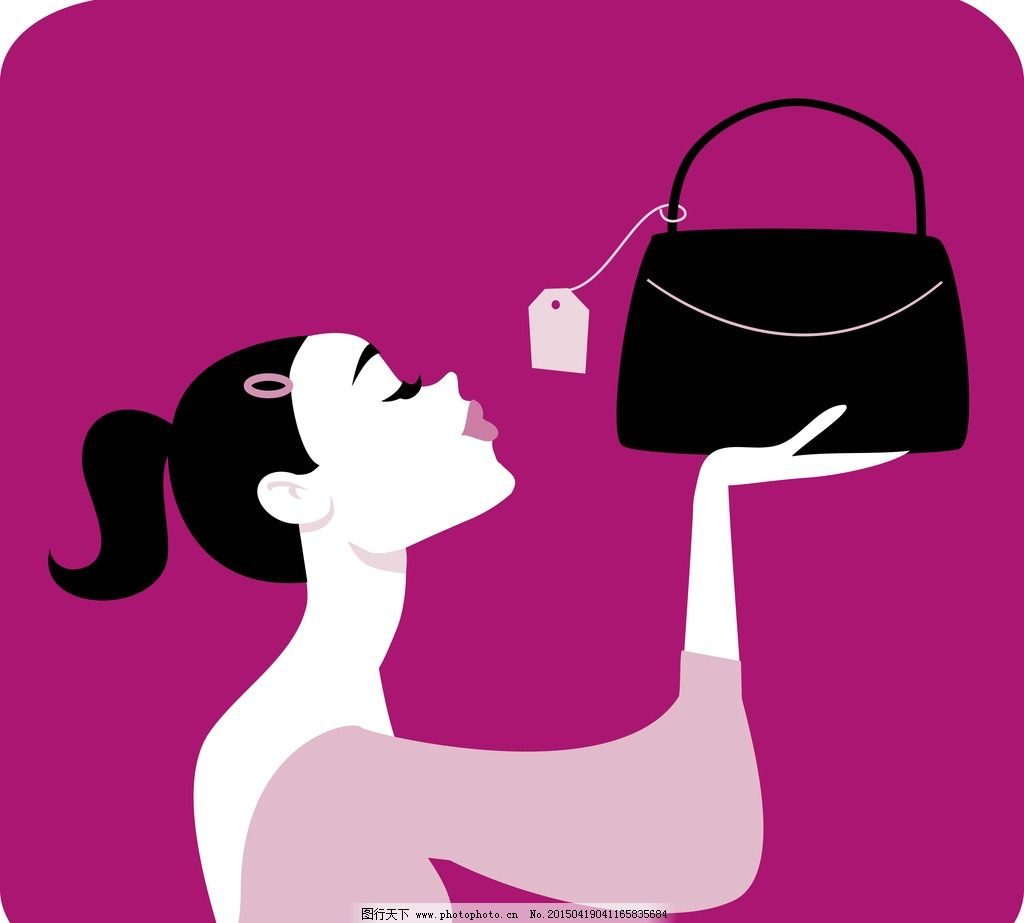 片头广告  购物美女 手绘少女 女孩 女人 时尚美女 卡通女生 简笔画