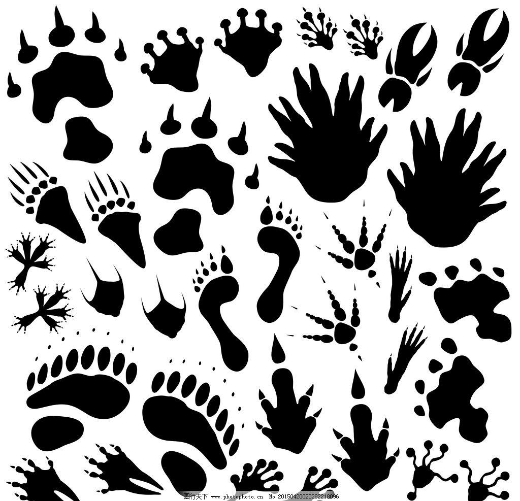 动物脚印 野兽脚印轮廓 手绘 背景底纹 设计 矢量 eps 设计 底纹边框