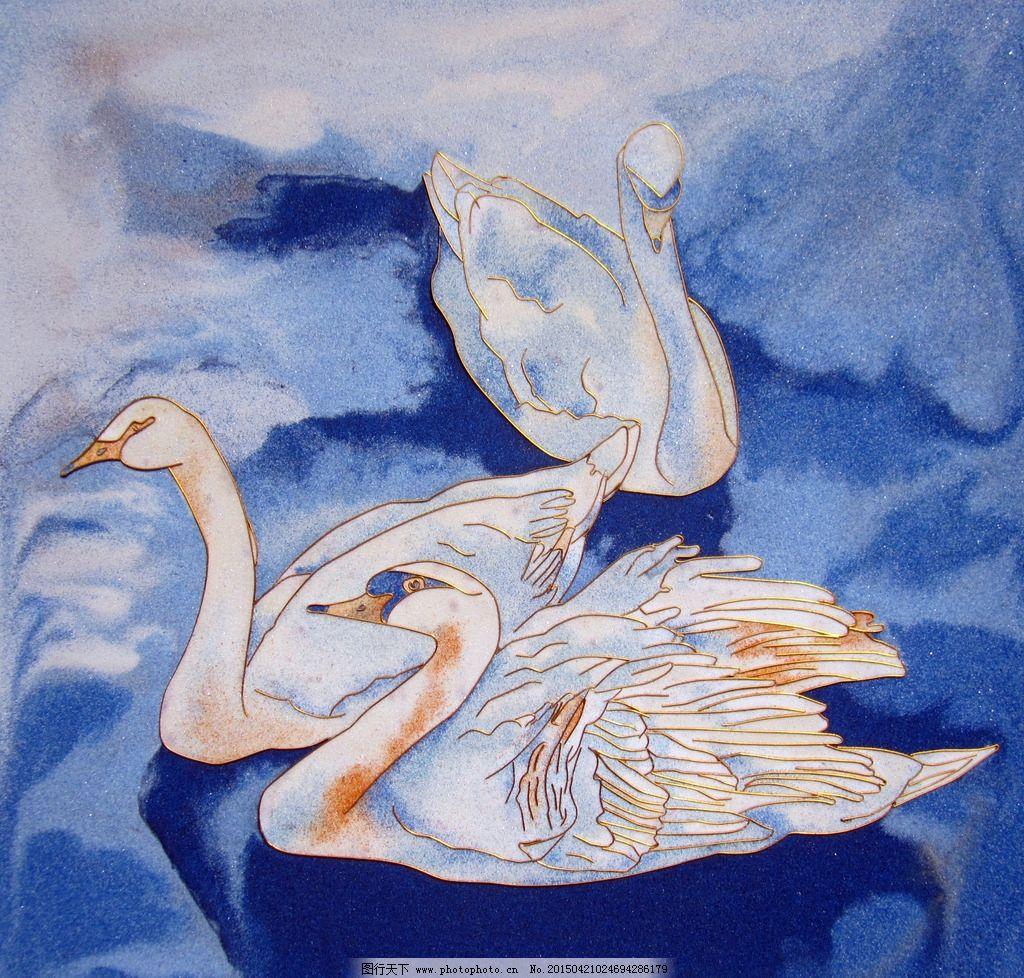 壁画 装饰画 天鹅 背景 底纹 动物图案 设计 生物世界 鸟类 180dpi