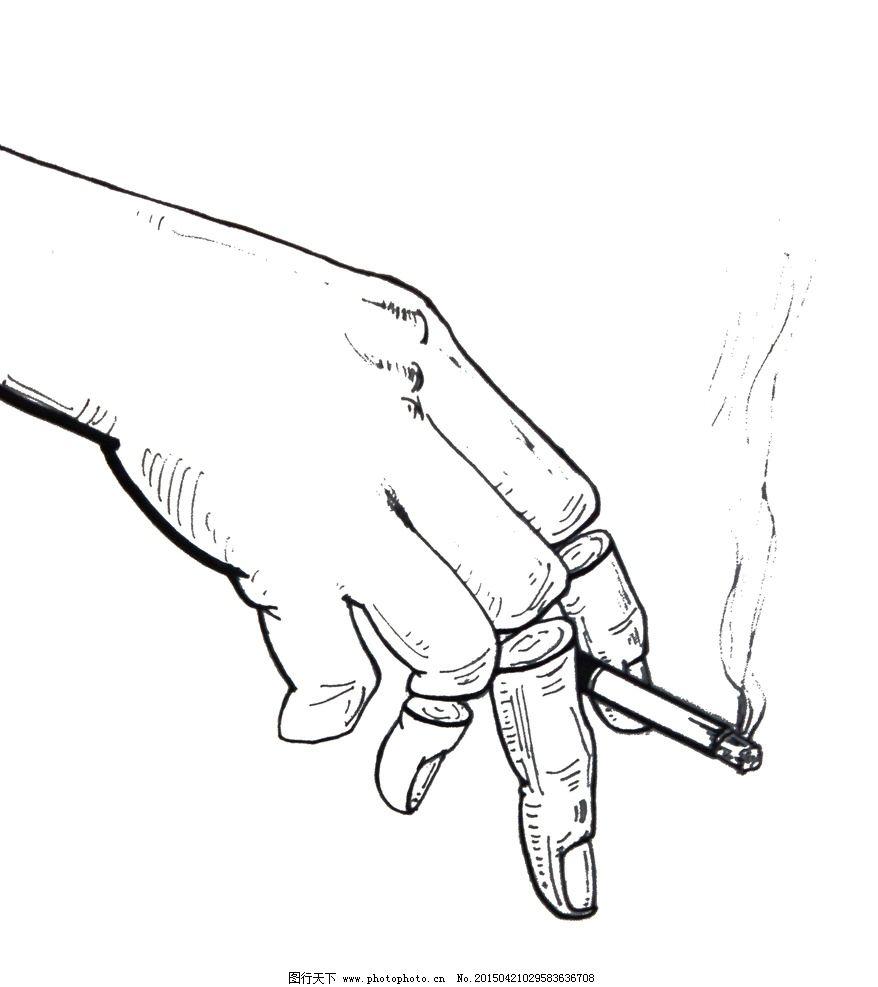 手绘抽烟伤感图片