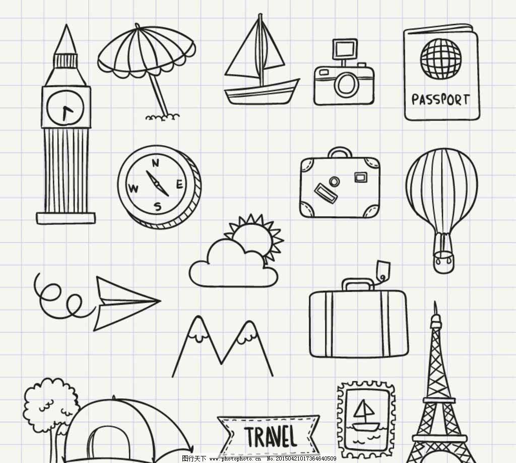 手绘旅行图标矢量素材图片免费下载 帆船 拍照 时钟 相机 照相机 指南