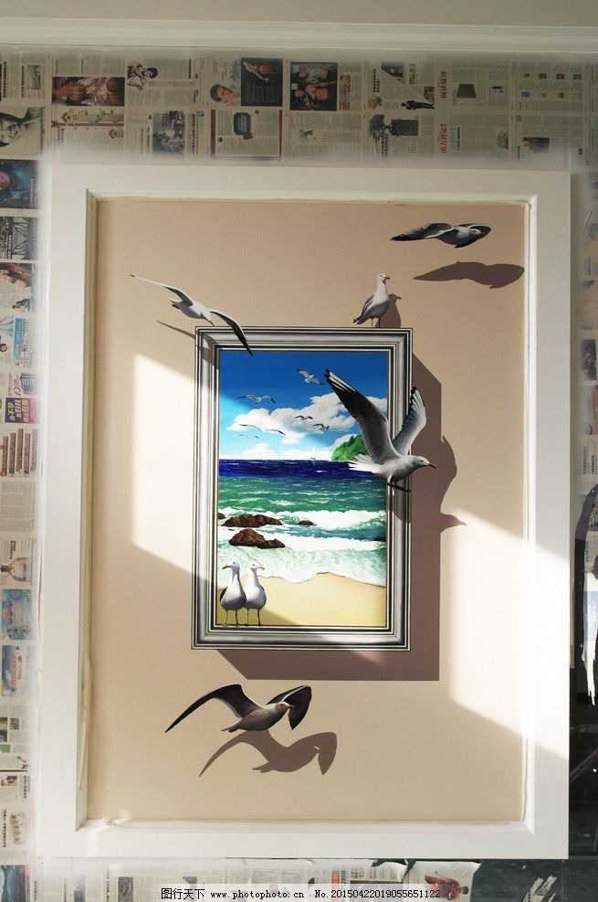 3d画 立体画 墙绘 大海 海鸥 壁画 手绘墙 设计 文化艺术 绘画书法 35