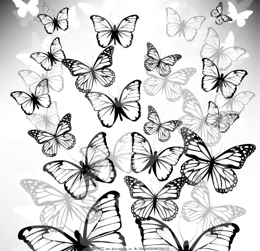 蝴蝶 蝴蝶轮廓 剪影 手绘 昆虫 翅膀 蝴蝶图案 生物世界 设计 矢量 ep