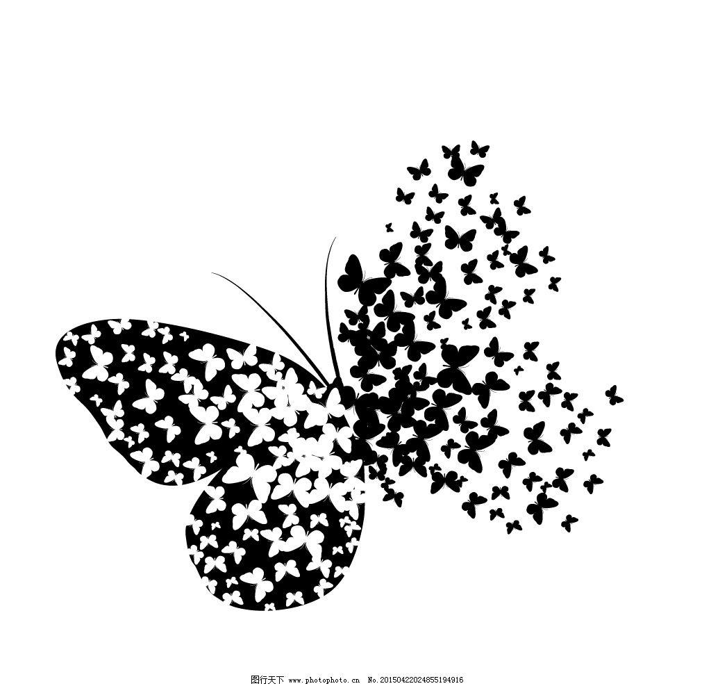 蝴蝶 蝴蝶轮廓 剪影 手绘 翅膀 蝴蝶图案 矢量