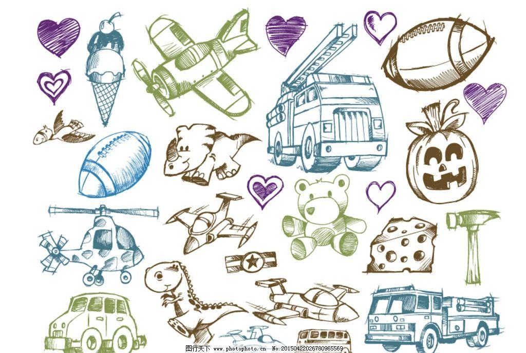 手绘卡通人物汽车飞机矢量图片