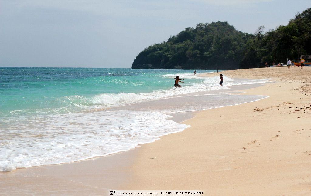 海岛 岸边 嬉戏 白沙滩 踏浪 大海 摄影 人文景观