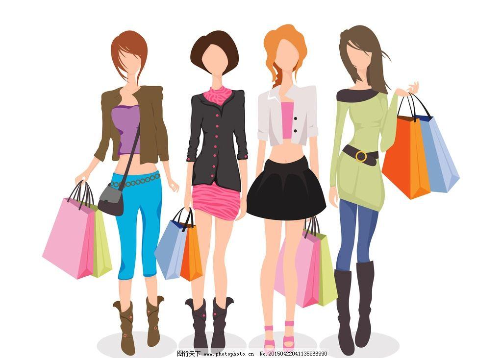购物美女图片,手绘少女 女孩 女人 时尚美女 女性素描