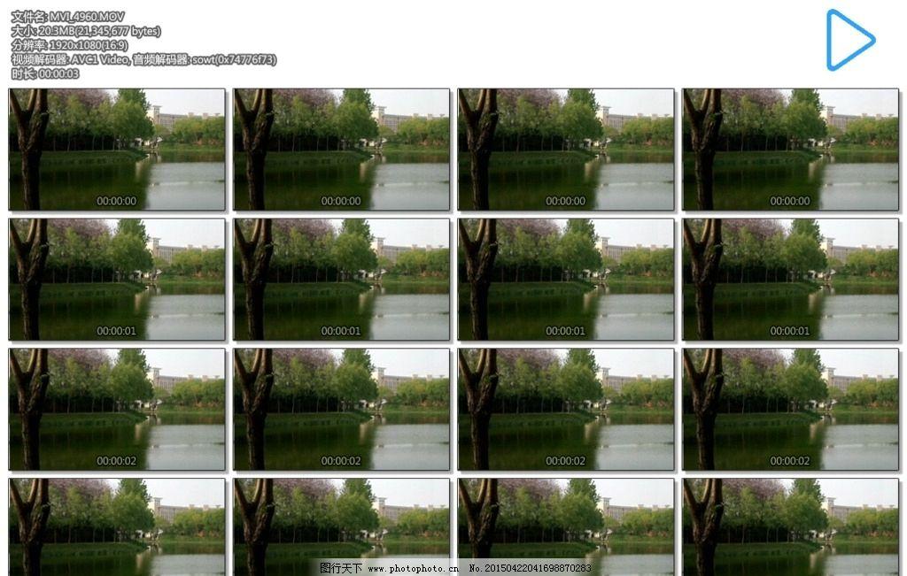 湖水 蓝天 绿水 树木 春天 多媒体