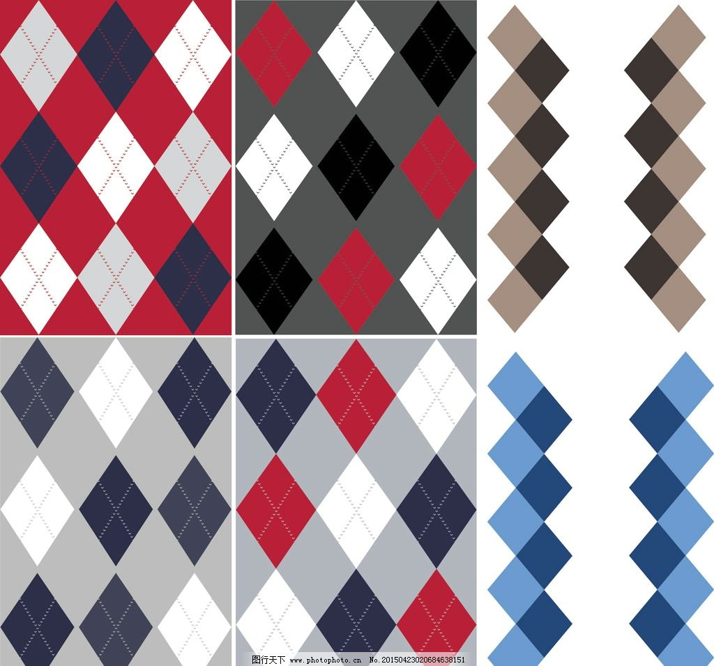毛衣 菱形格 针织图案 循环 布花 男款 配色 图案一刻 设计 底纹边框