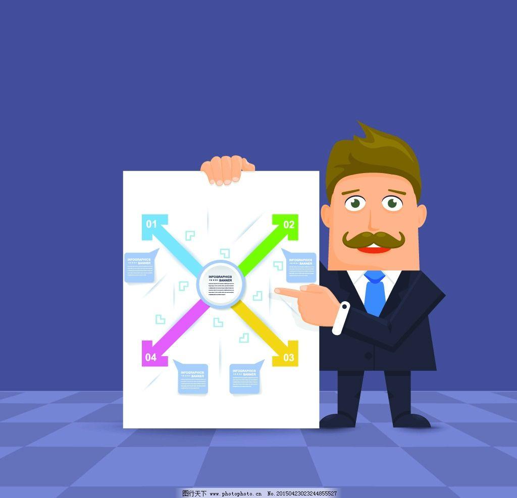 商务人物 白领 手绘人物 简笔画 图表 人士 卡通人物 商业插图 职业