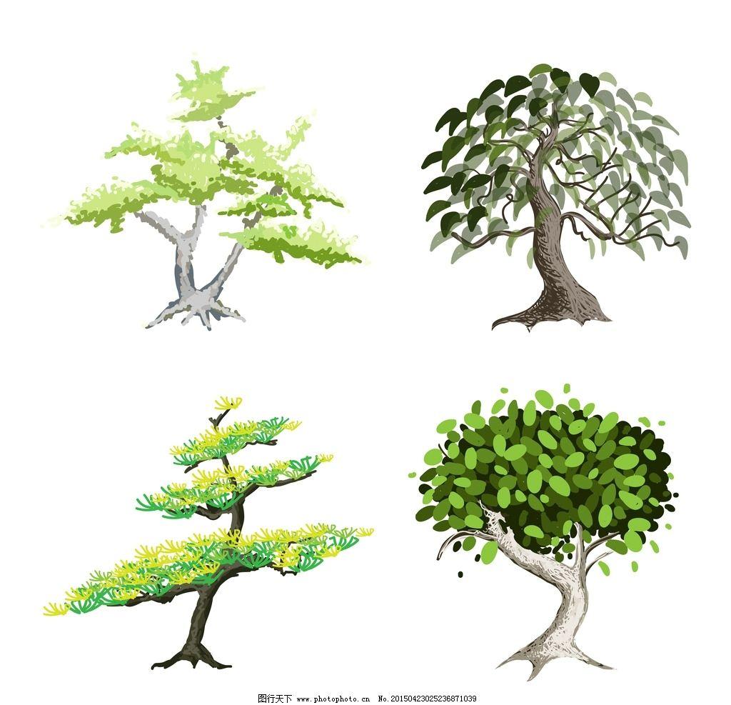 树木 绿叶 盆景 绿植 树叶 绿树 手绘树木 树木贴图 植物 生物世界