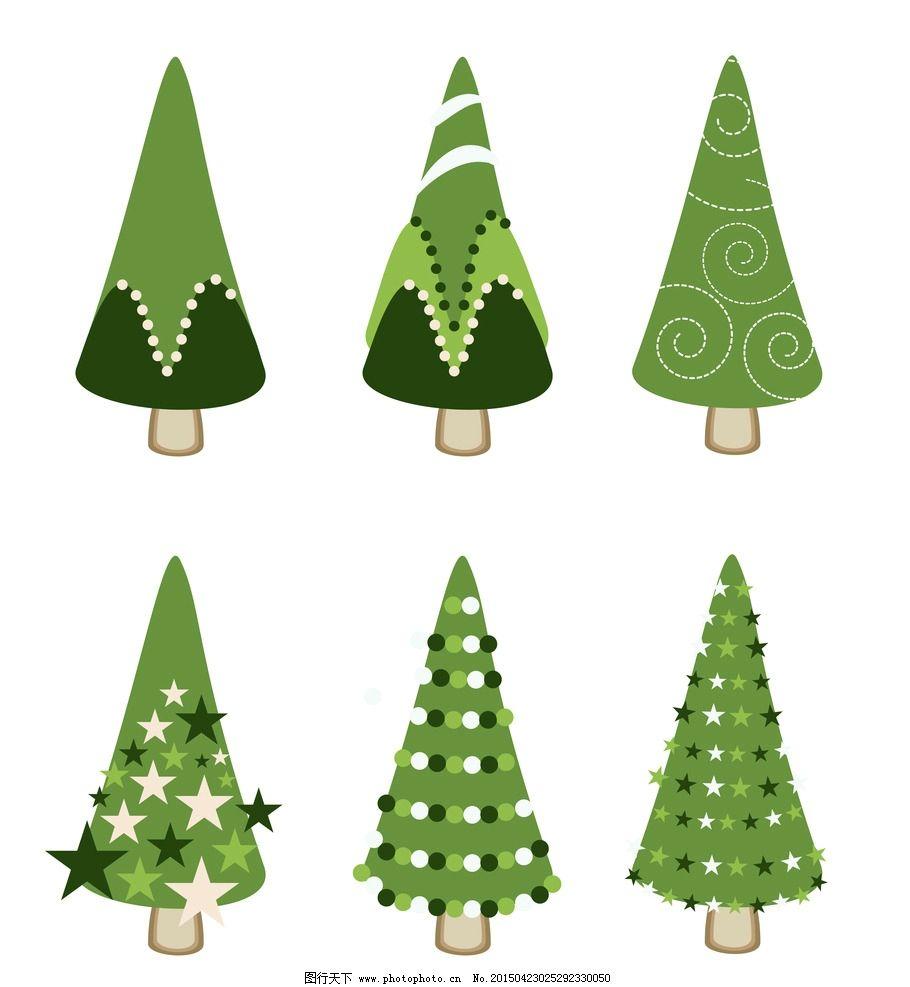 圣诞树 树木 绿叶 绿植 树叶 绿树 手绘树木 树木贴图 植物 生物世界