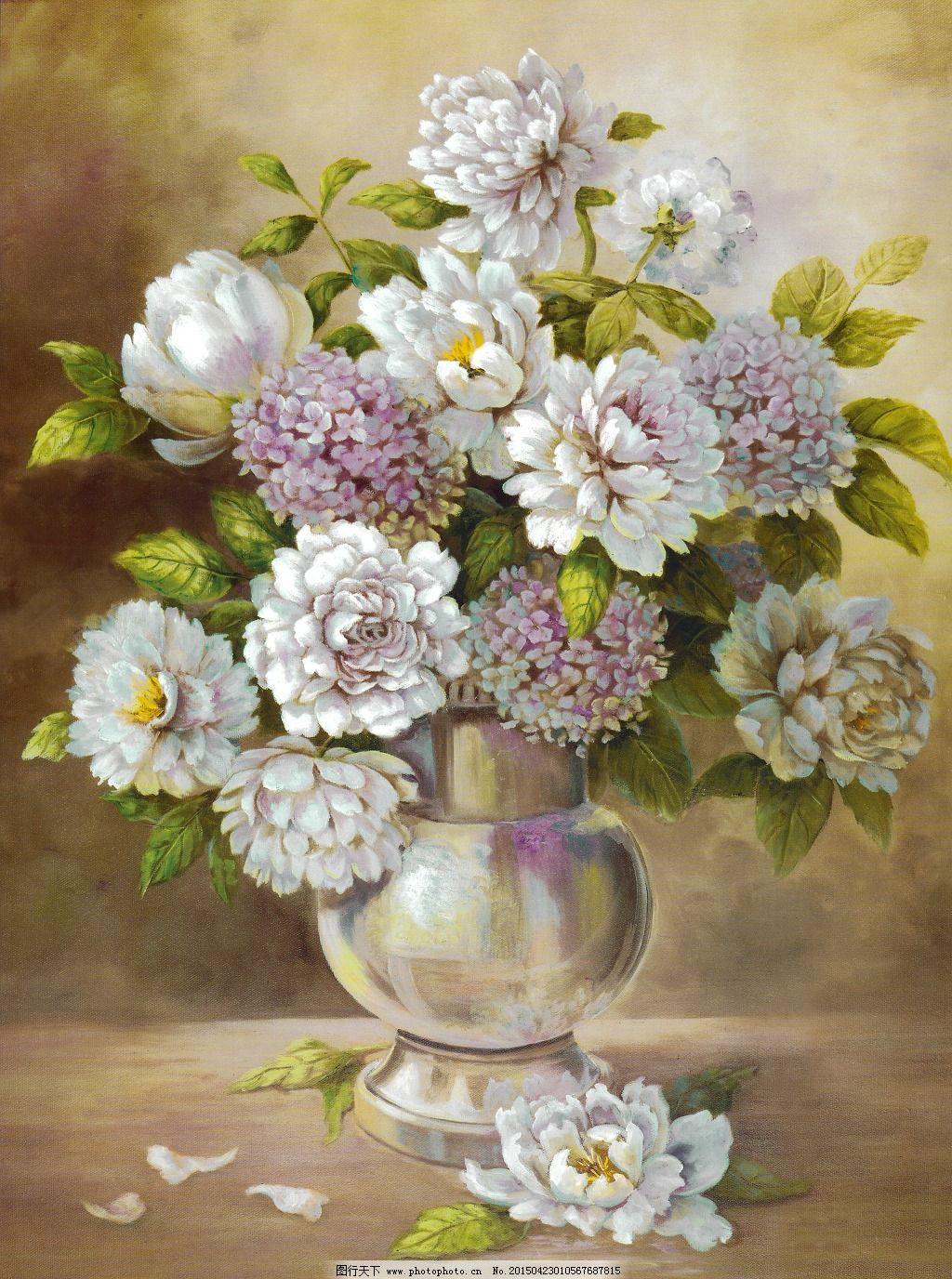 绣球花免费下载 白花 花瓶 绣球花 白花 花瓶 绣球花 装饰素材 油画