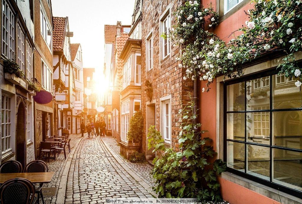小镇 欧洲 城市 街头 小巷 胡同 鲜花 建筑 欧式 青石路 旅游 摄影图片