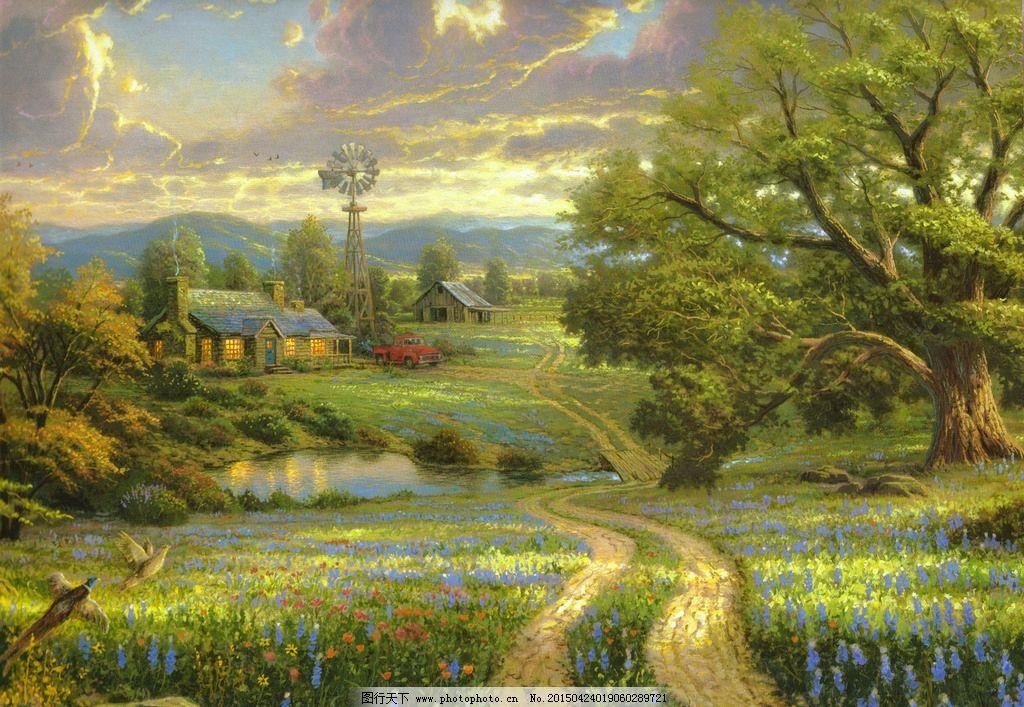 炊煙 田園風景 歐式油畫風景 繪畫 藝術 油畫 油畫風景 唯美 寫實油畫
