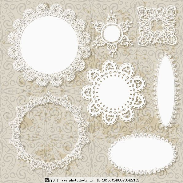 欧式蕾丝花纹矢量图