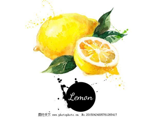 手绘水彩柠檬背景矢量图