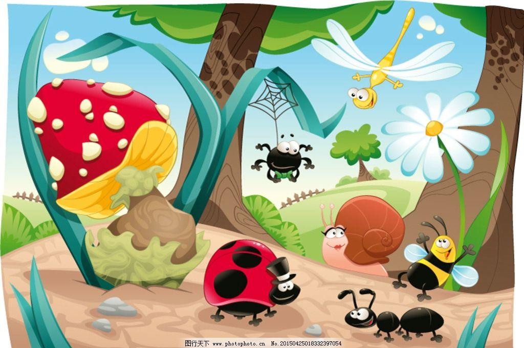 昆虫 插画 矢量 动漫 手绘 卡通动物 儿童 插画动物  设计 动漫动画