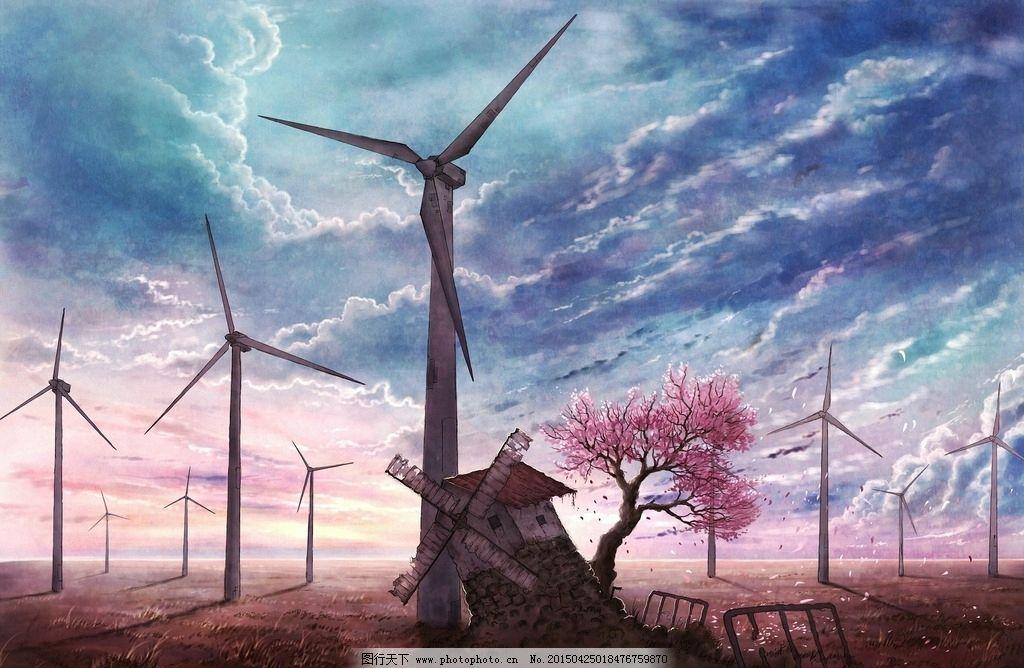 天空风车与樱花树图片