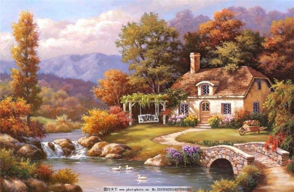 欧式油画风景 绘画 艺术 油画 装饰画 油画风景 唯美 写实油画 欧式