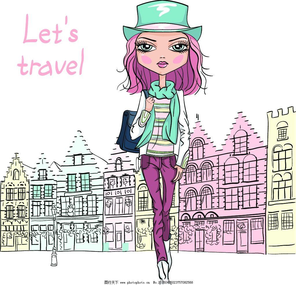 手绘美女 小女孩 女人 时尚少女 女性素描 美女 卡通女生 简笔画插图