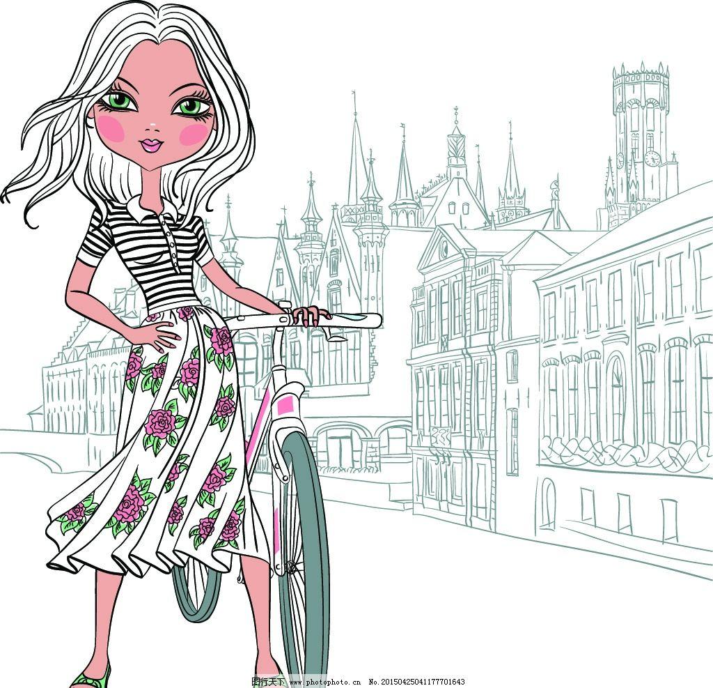 手绘少女 小女孩 女人 时尚美女 女性素描头像 美女 卡通女生 简笔画