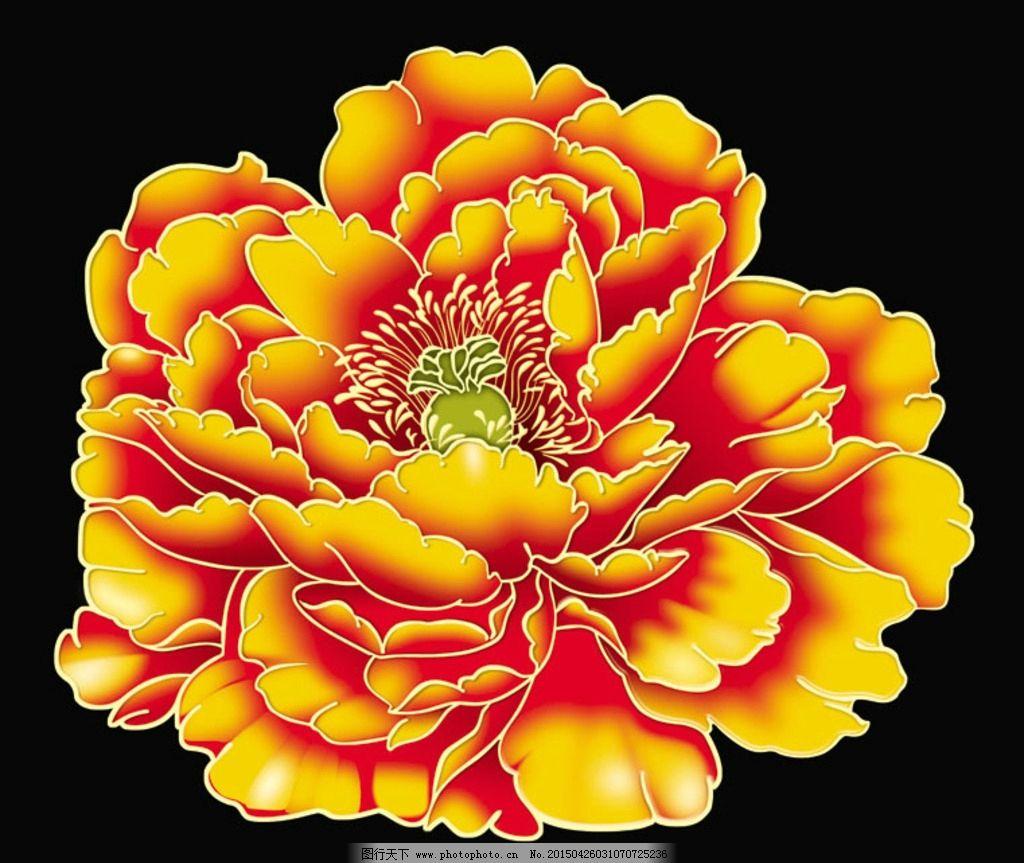 牡丹 黄色牡丹 手绘牡丹花 盛开牡丹 彩色牡丹 设计 广告设计 其他