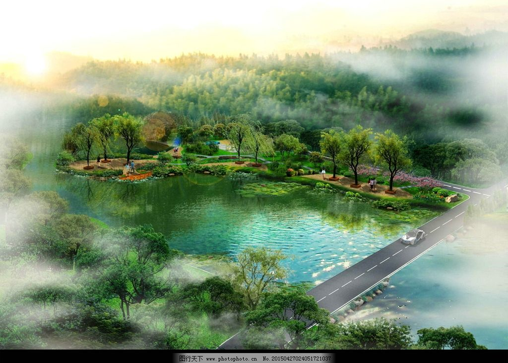 滨水景观带节点方案效果图图片