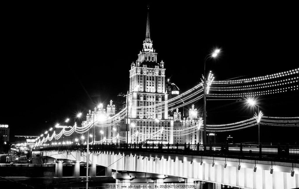 黑白欧美建筑手绘