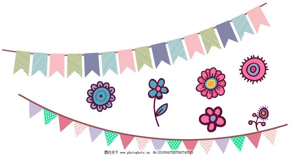 三角旗 手绘花朵图片