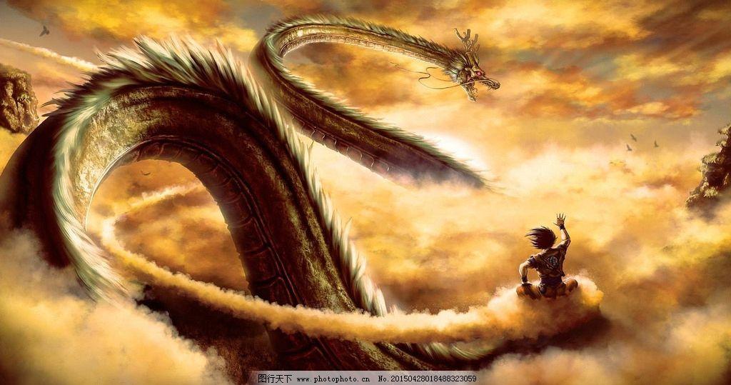 高清 手绘 插画 壁纸 龙 腾云驾雾 天空 神秘龙腾 设计 动漫动画 风景