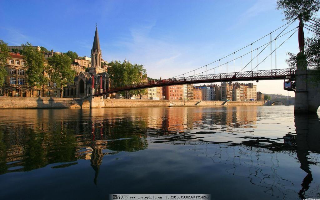欧美湖水建筑风景意境图