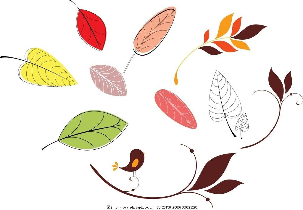 手绘树叶素材图片