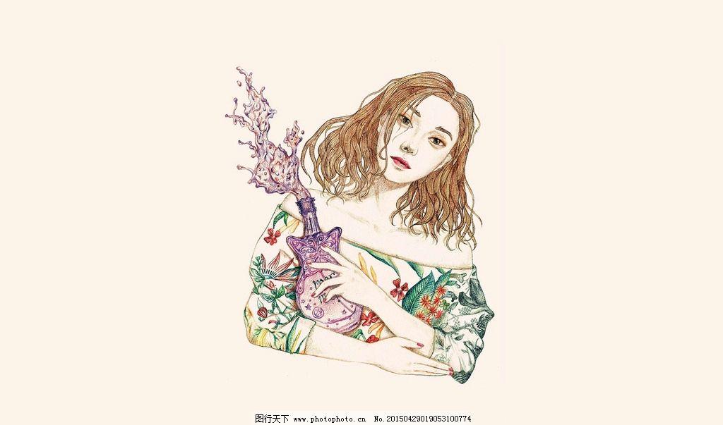 手绘美女 手绘 美女 插画 美女插画 艺术 艺术美女 文艺 艺术插画
